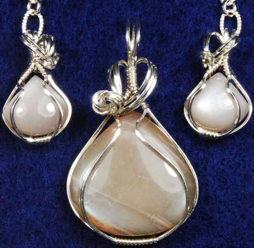 Moonstone Pendant and Earring Set #1