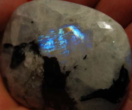 Rainbow Moonstone Palm Stone #8