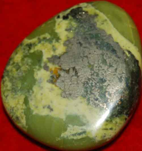 Serpentine Palm Stone with Pyrite Inclusions #25