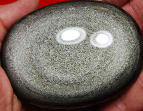 Silver Sheen Obsidian Soap-Shaped Palm Stone #12