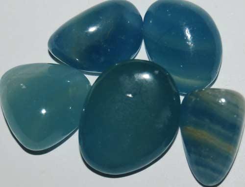 Five Blue Calcite Tumbled Stones #7