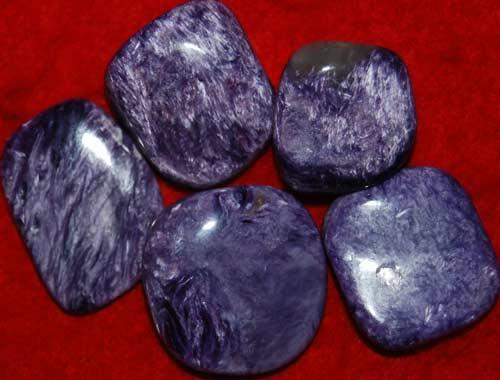 Five Charoite Small AAA Tumbled Stones #12