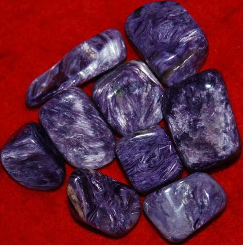 Nine Charoite Small AAA Tumbled Stones #1