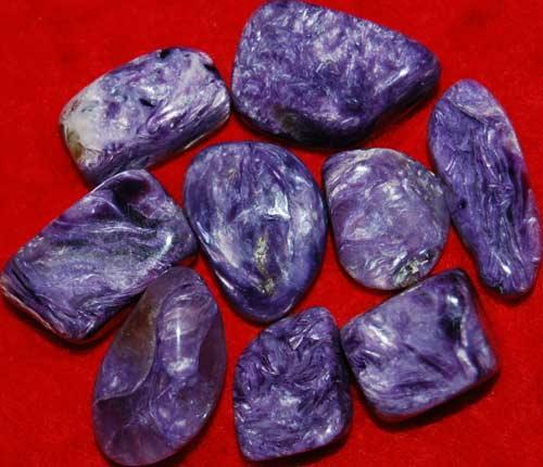 Nine Charoite Small AAA Tumbled Stones #4