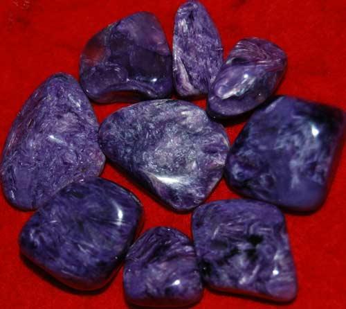 Nine Charoite Small AAA Tumbled Stones #7