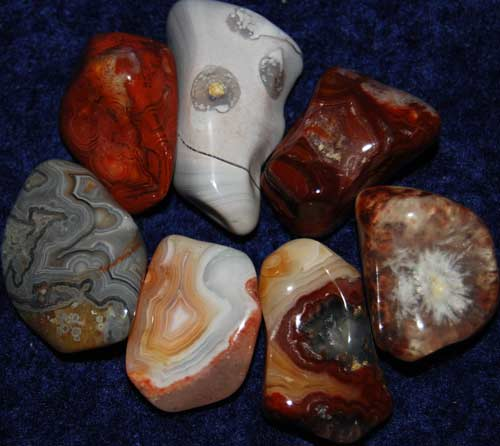 Seven Crazy Lace Agate Tumbled Stones #16