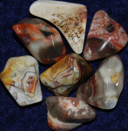 Seven Crazy Lace Agate Tumbled Stones #18