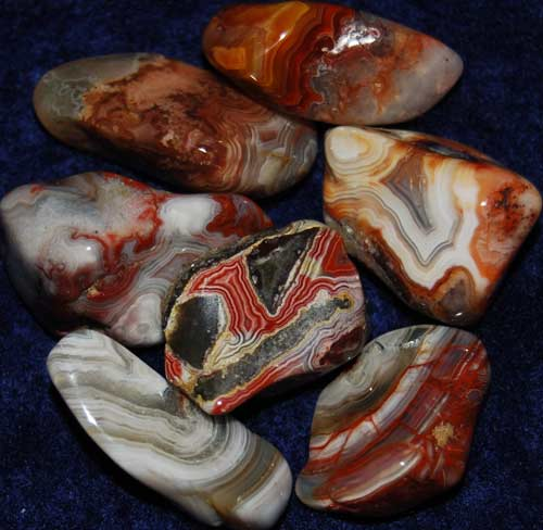 Seven Crazy Lace Agate Tumbled Stones #8