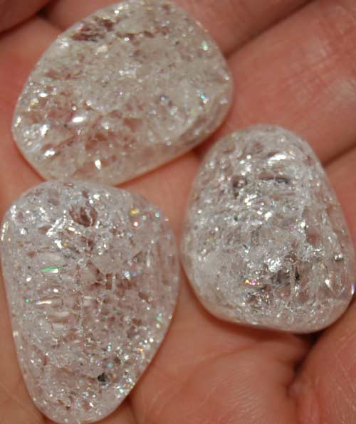 Three Cracked Quartz Tumbled Stones #9