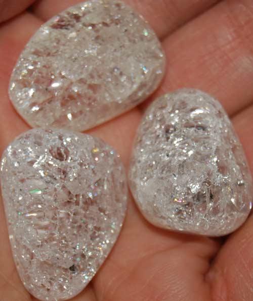 Three Cracked Quartz Tumbled Stones #9