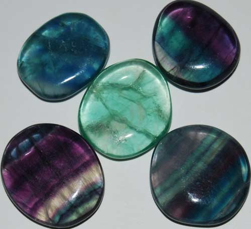 5 Mixed Fluorite Tumbled Flat Stones #10