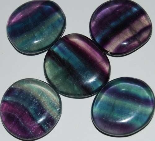 5 Rainbow Fluorite Tumbled Flat Stones #14