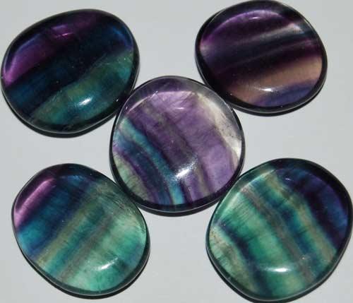 5 Rainbow Fluorite Tumbled Flat Stones #16