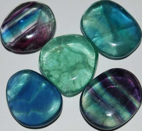 5 Mixed Fluorite Tumbled Flat Stones #9