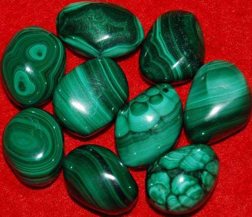 9 Malachite Tumbled Stones #10