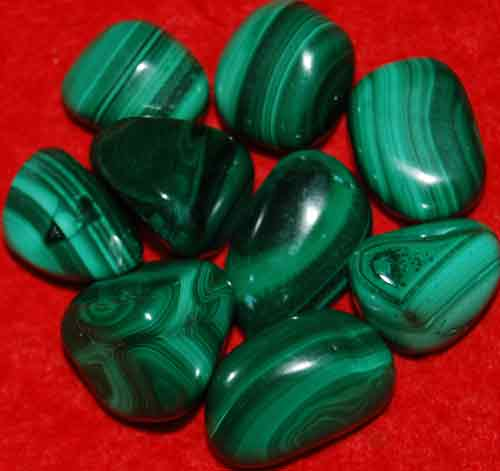 9 Malachite Tumbled Stones #15