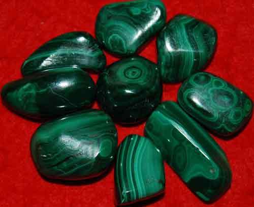 9 Malachite Tumbled Stones #16