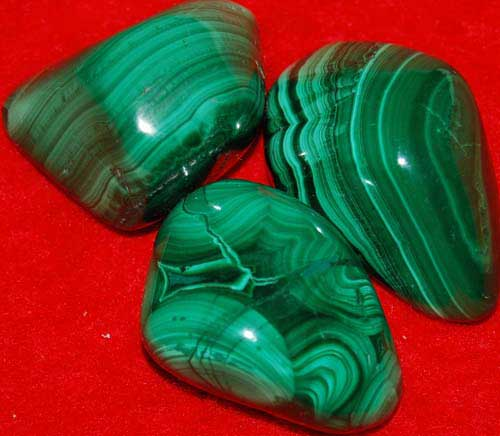 3 Malachite Tumbled Stones #3
