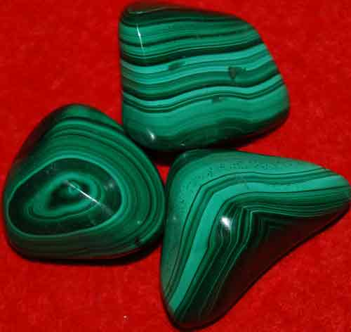 3 Malachite Tumbled Stones #4