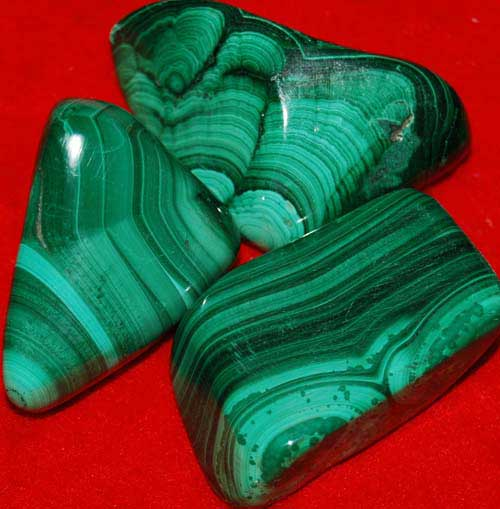 3 Malachite Tumbled Stones #6
