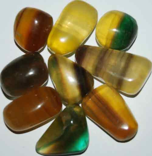 9 Mixed Fluorite Tumbled Stones #12