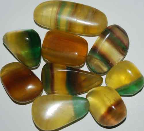 9 Mixed Fluorite Tumbled Stones #13