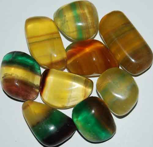 9 Mixed Fluorite Tumbled Stones #14
