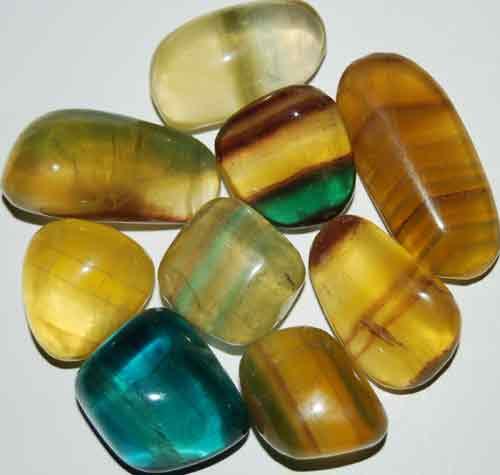 9 Mixed Fluorite Tumbled Stones #15