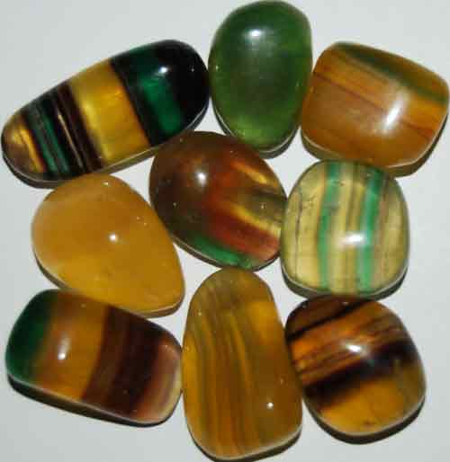 9 Mixed Fluorite Tumbled Stones #2