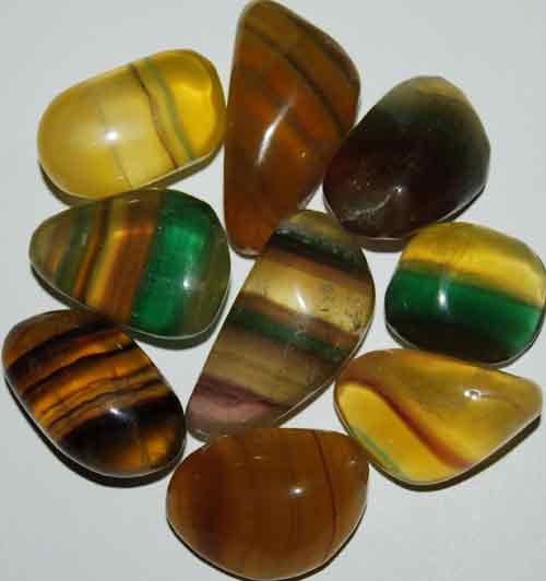 9 Mixed Fluorite Tumbled Stones #3