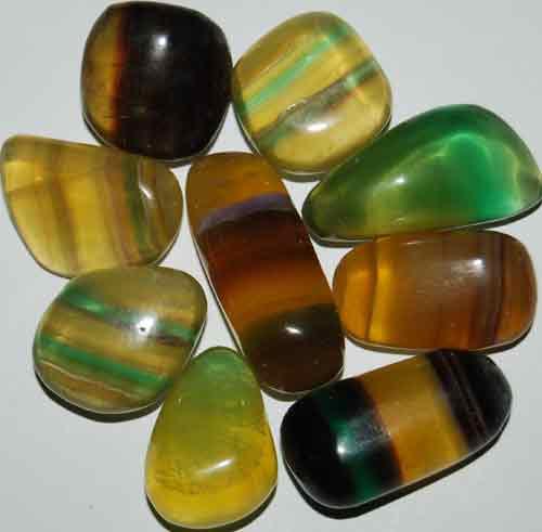 9 Mixed Fluorite Tumbled Stones #4