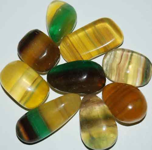 9 Mixed Fluorite Tumbled Stones #5