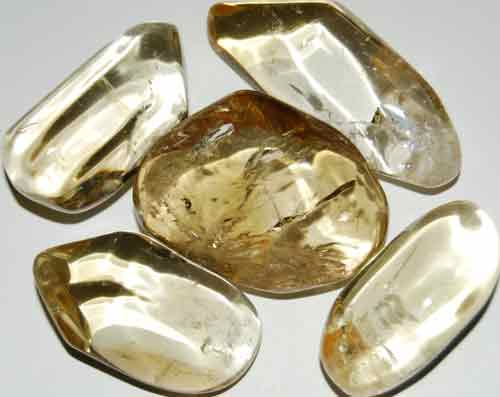 Five Natural Citrine Tumbled Stones #11
