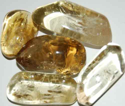 Five Natural Citrine Tumbled Stones #12