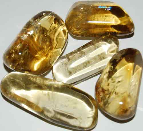 Five Natural Citrine Tumbled Stones #3