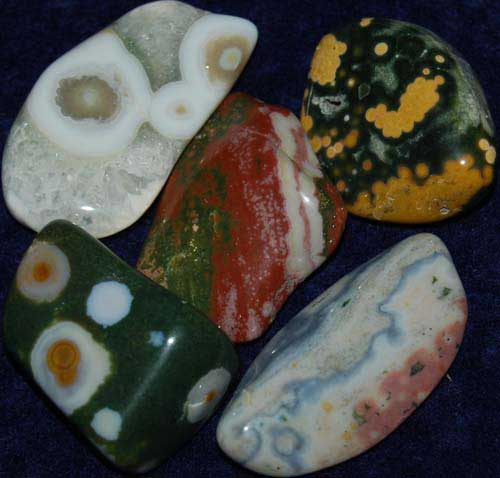 5 Ocean Jasper Tumbled Stones #9
