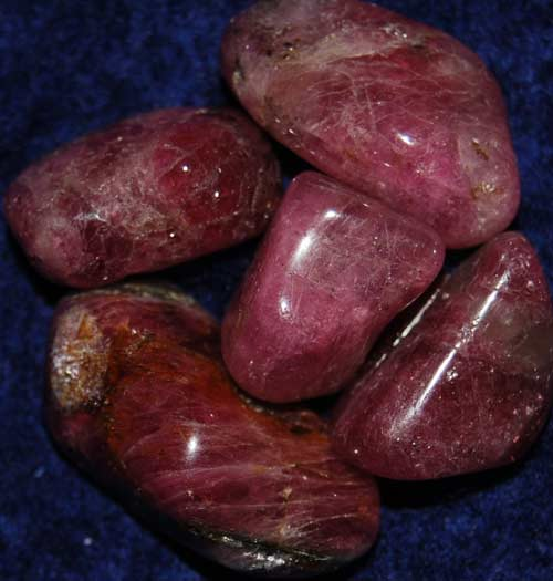 Five Pink Tourmaline with Lepidolite Tumbled Stones #4