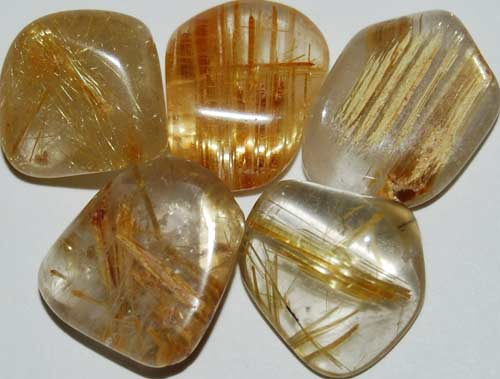 5 Rutilated Quartz Tumbled Stones #1