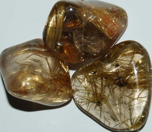 3 Rutilated Quartz Tumbled Stones #7