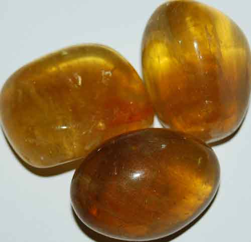 3 Yellow Fluorite Tumbled Stones #12