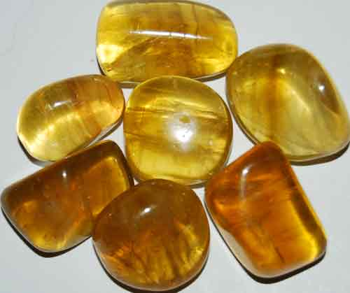 7 Yellow Fluorite Tumbled Stones #4