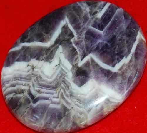 Chevron Amethyst Worry/Thumb Stone #16