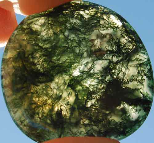 Green Moss Agate Worry/Thumb Stone #13