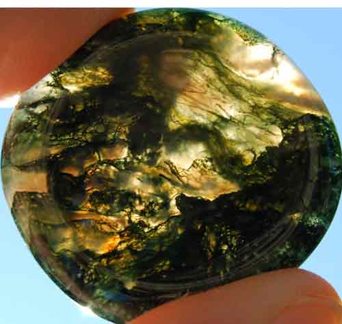 Green Moss Agate Worry/Thumb Stone #1