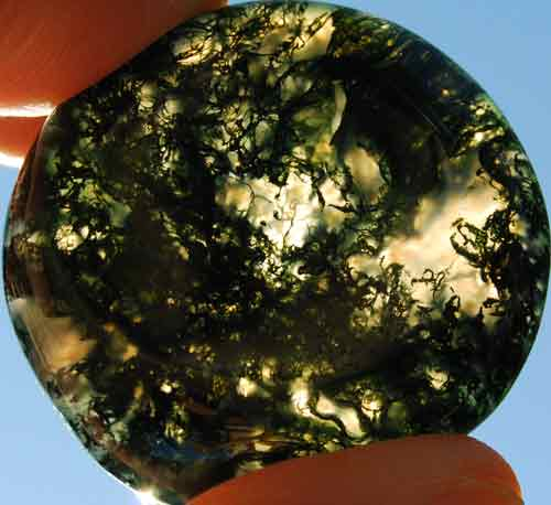 Green Moss Agate Worry/Thumb Stone #6