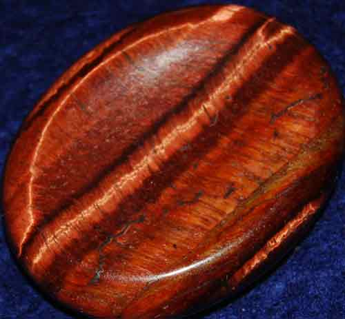 Falcon Eye (Red Tiger Eye) Worry/Thumb Stone #17