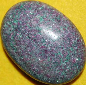 Sparkling Ruby in Fuchsite Soap-Shaped Palm Stone #7
